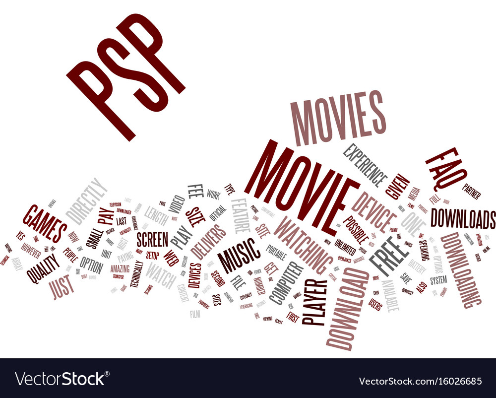 Free psp movie downloads an faq text background vector image.