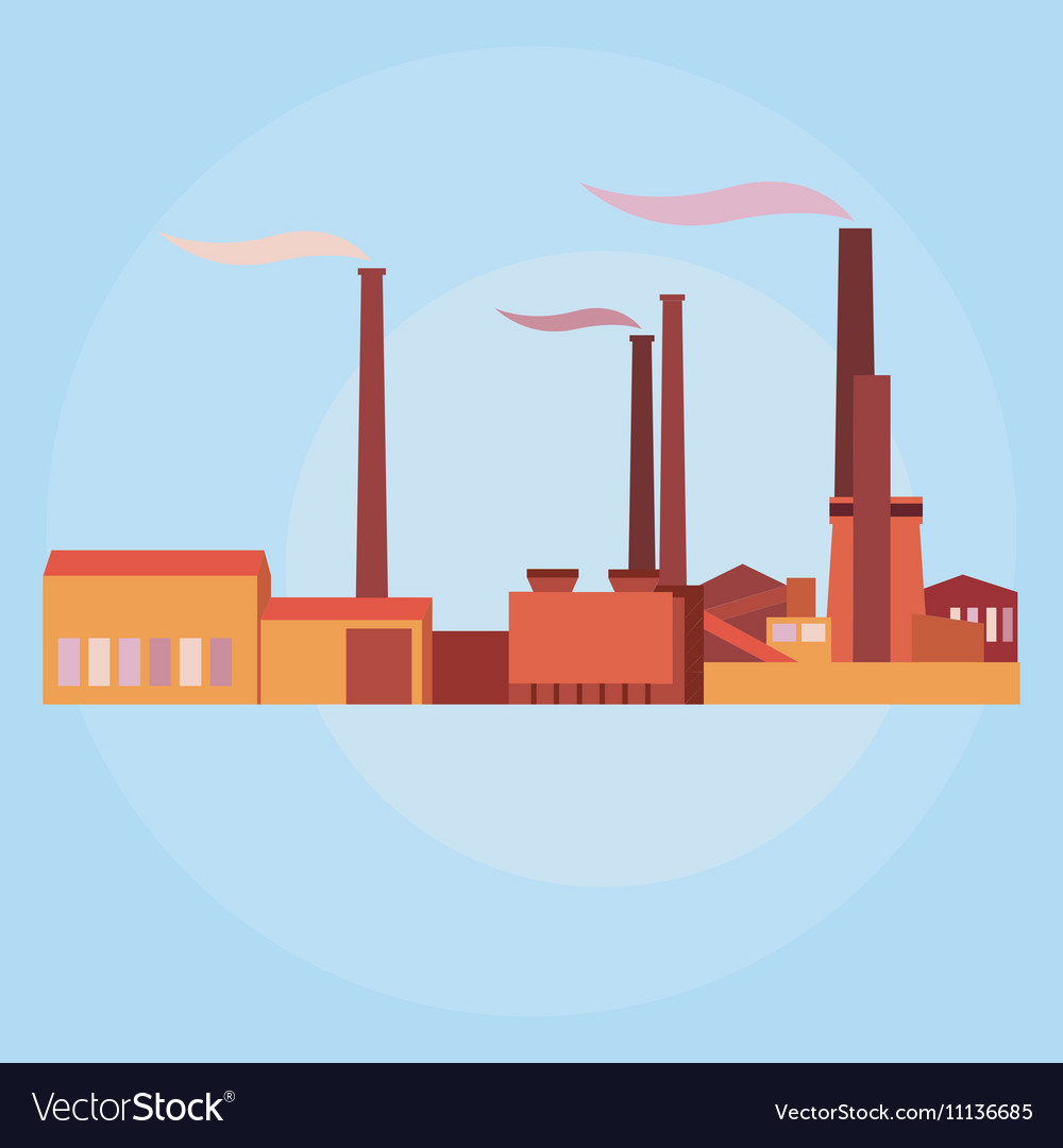 Industrial buildings plants and factories vector image