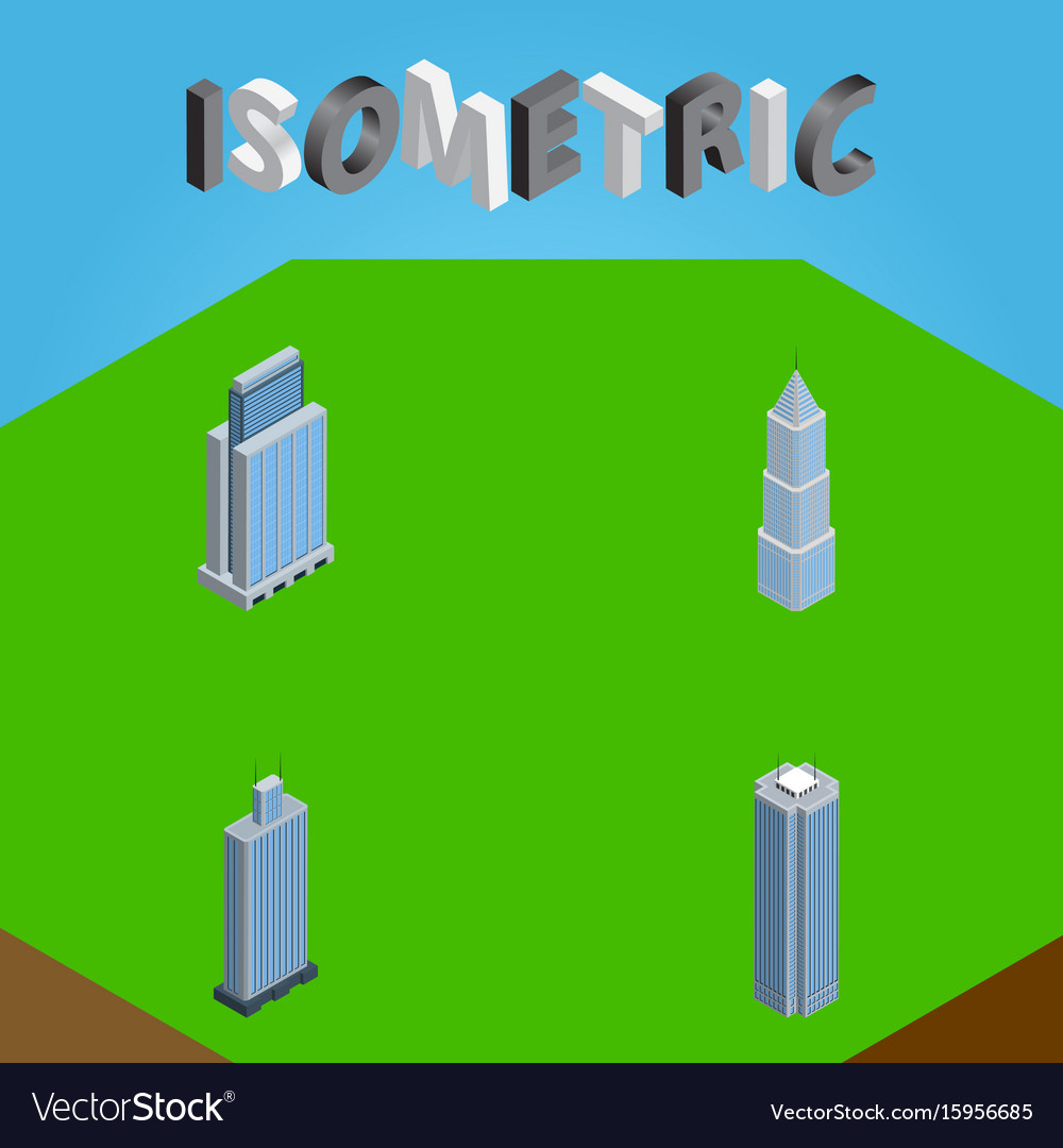 Isometric skyscraper set of exterior urban