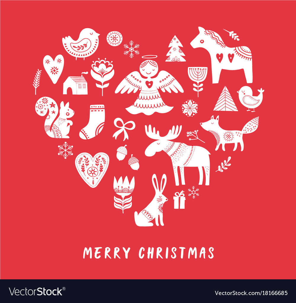 Merry christmas heart-shaped background Royalty Free Vector