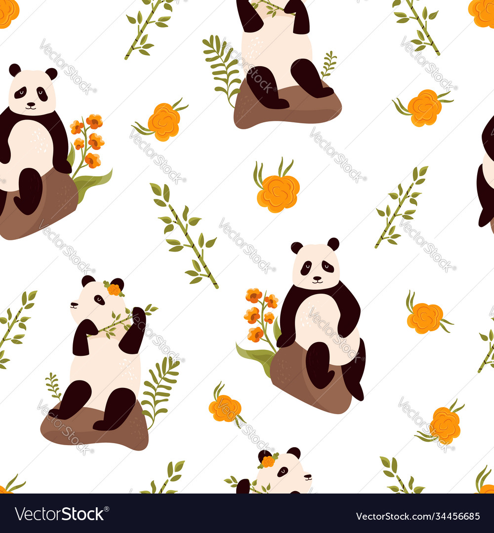 Seamless pattern with cute funny pandas