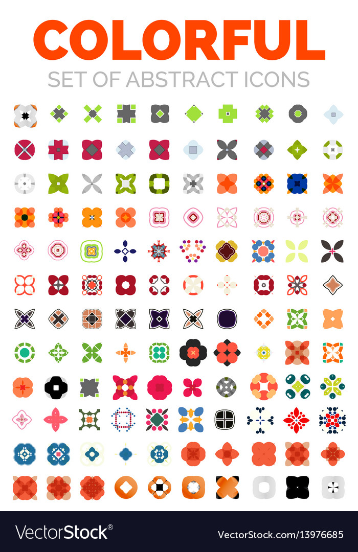 Set of colorful geometrical abstract icons