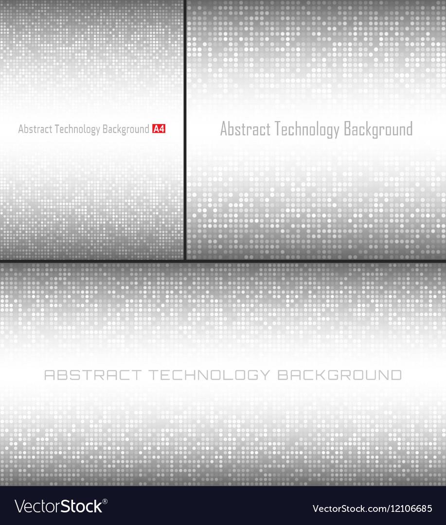 Set of Gray Technology Pixel Circle Backgrounds