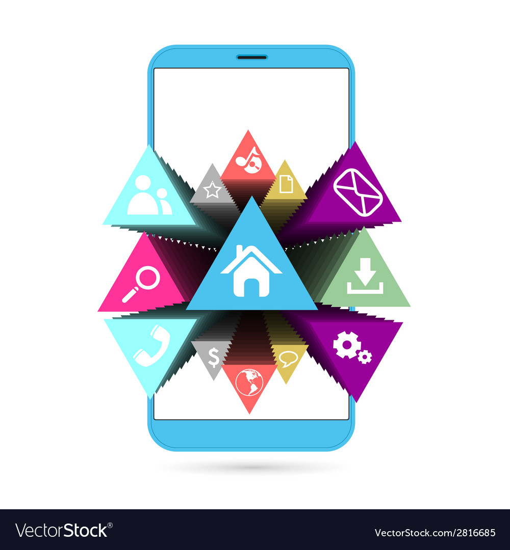 Smart phone in blue with icons vector image