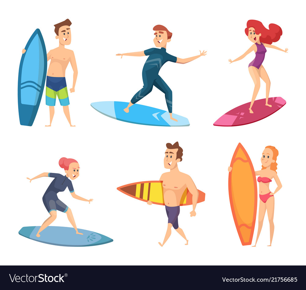 Surf characters design of summer mascots