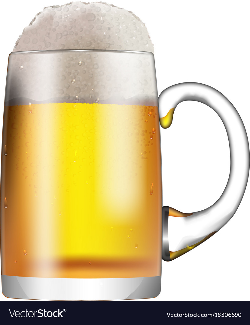 A glass mug with beer and foam isolated on white