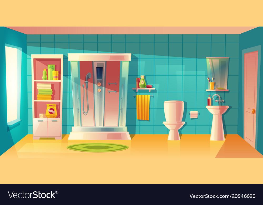 Bathroom interior shower cabin and