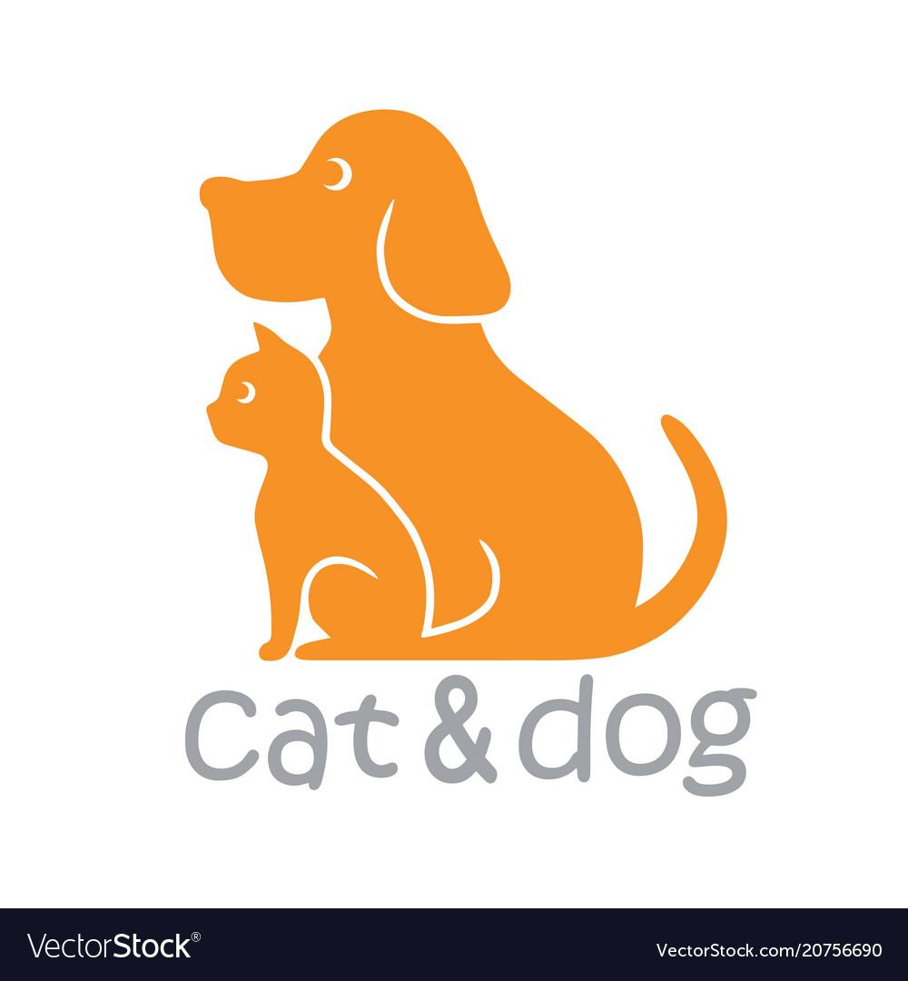 Cat and dog pet logo template