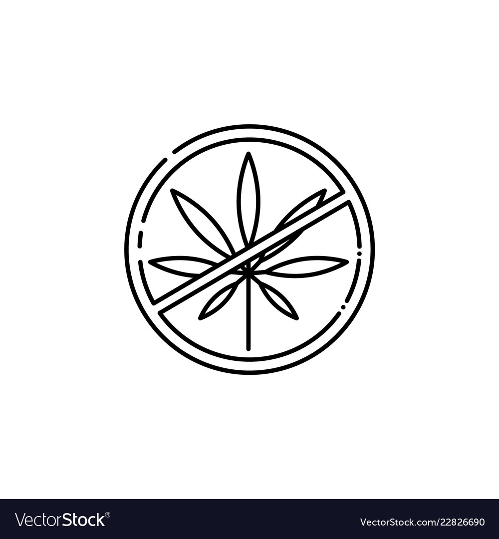 Crossed cannabis leaves in circle hemp icon