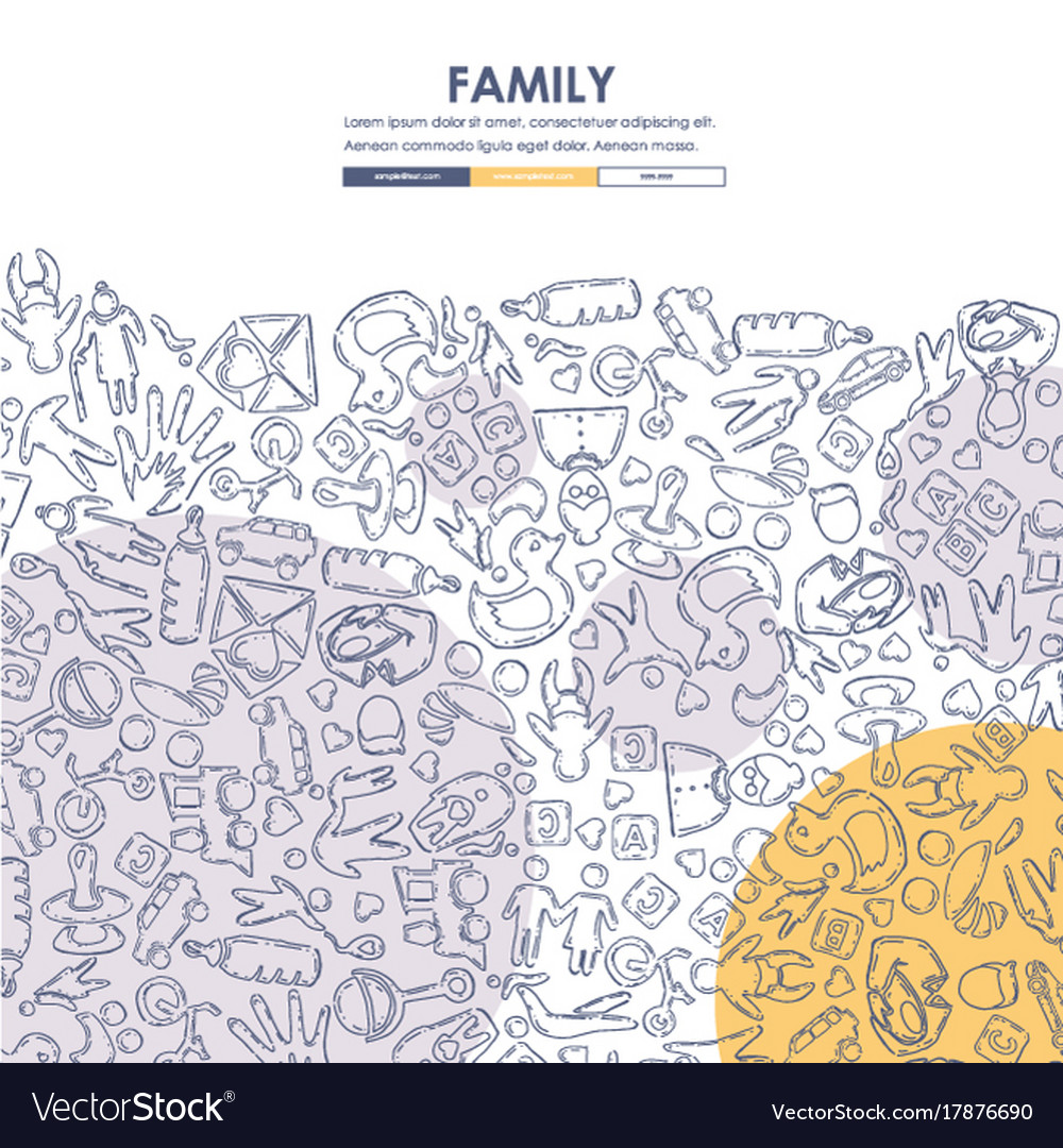 Family doodle website template design Royalty Free Vector