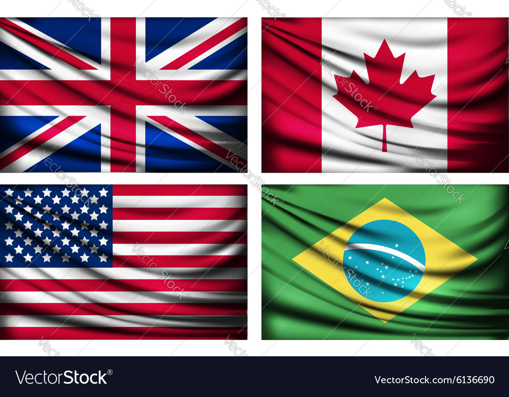 Four flags - UK Canada USA Brazil