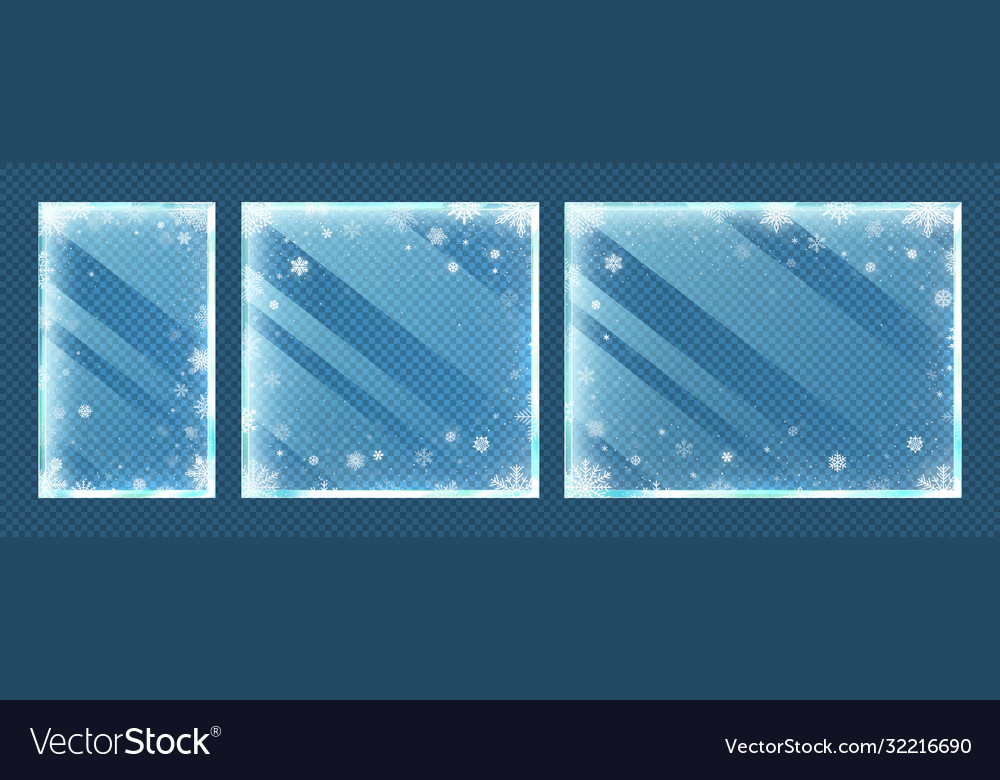 Frozen glass frames with snowflakes winter window
