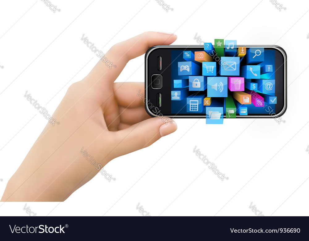 Hand holding mobile phone with icons