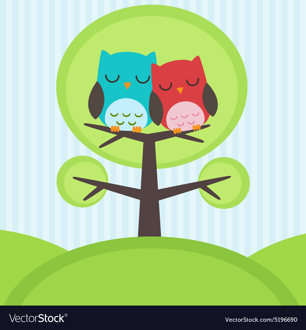 Owls on tree