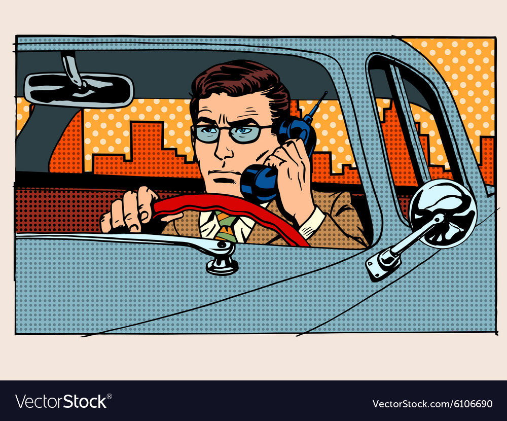 Retro driver talking on cell phone