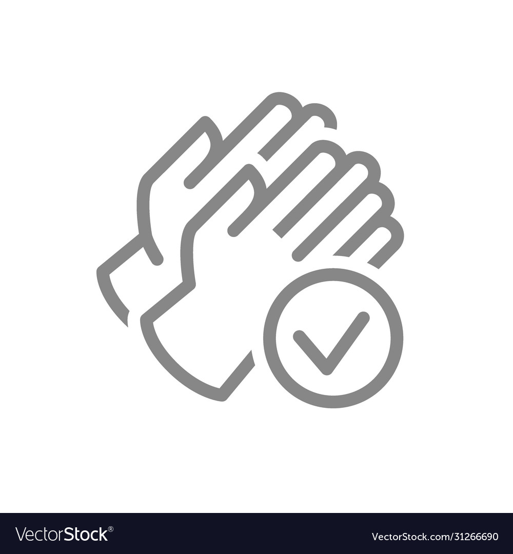 Rubber gloves with tick checkmark line icon hand