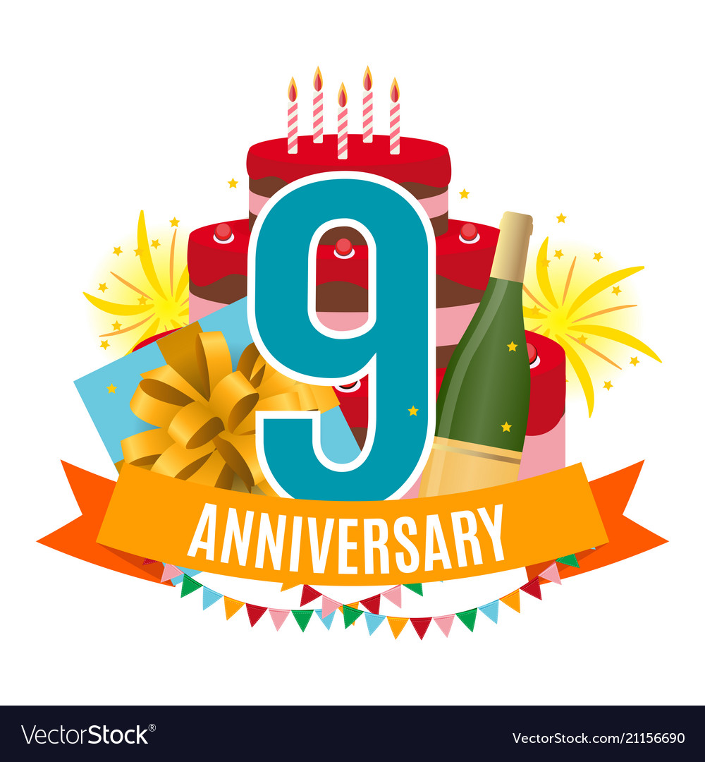 Template 9 years anniversary congratulations Vector Image