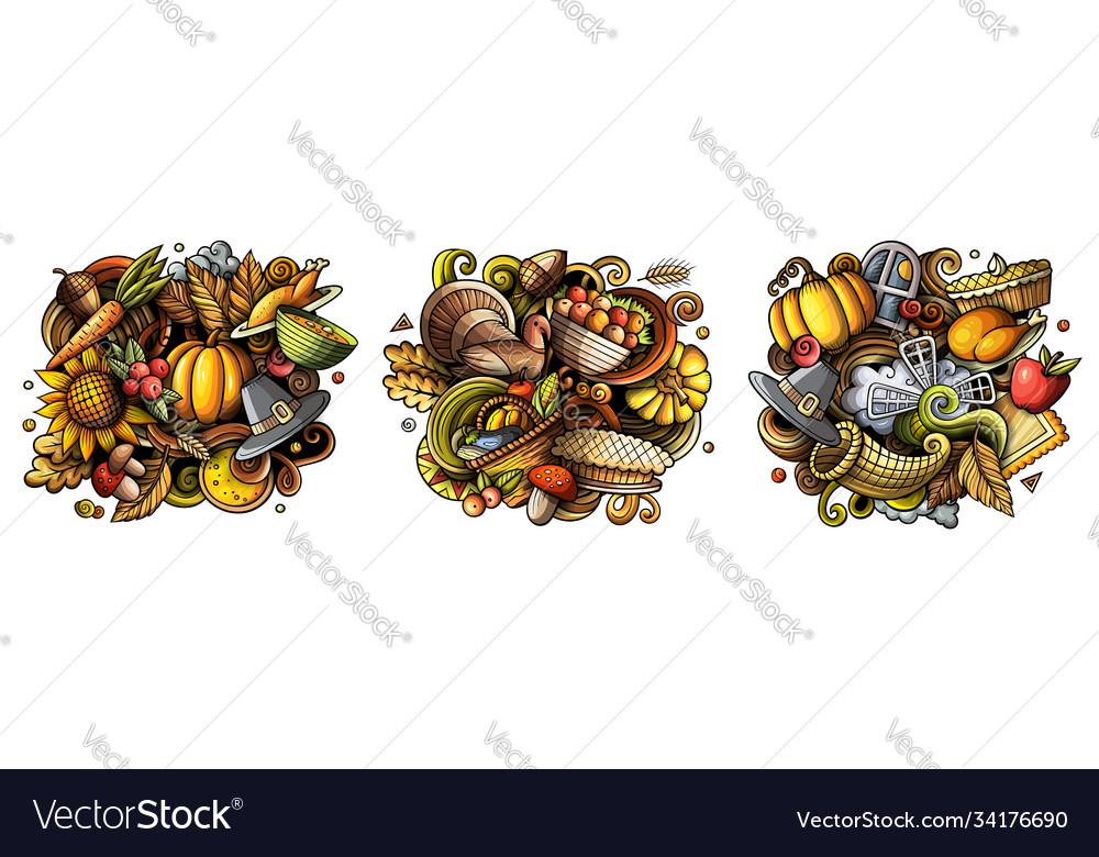 Thanksgiving cartoon doodle designs set