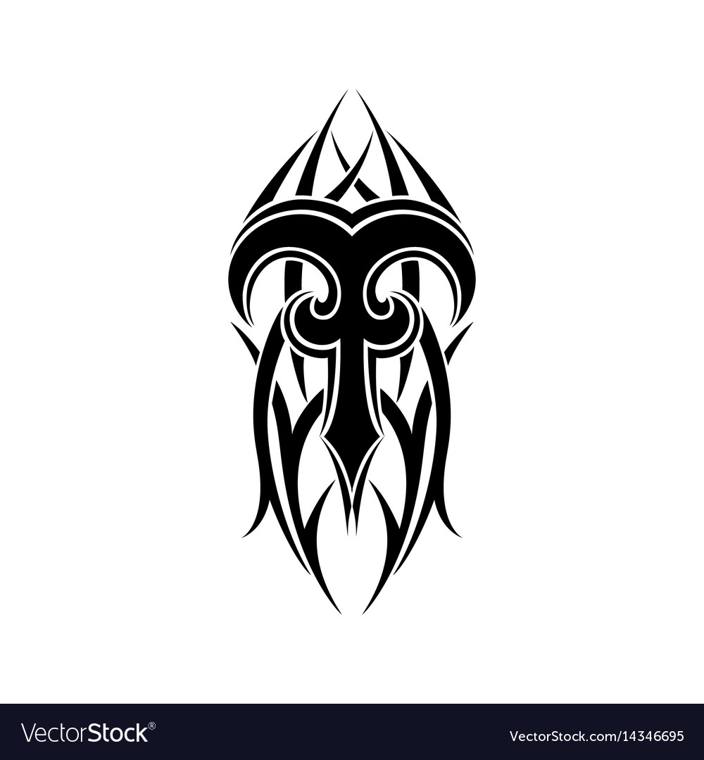 Aries Zodiac Abstract Tribal Tattoo Design Vector Image