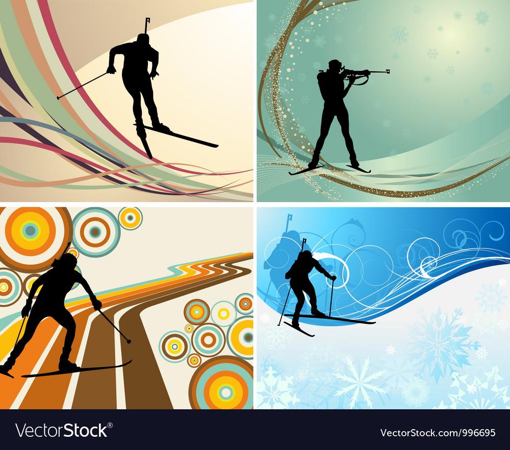 Biathlon backgr set vector image