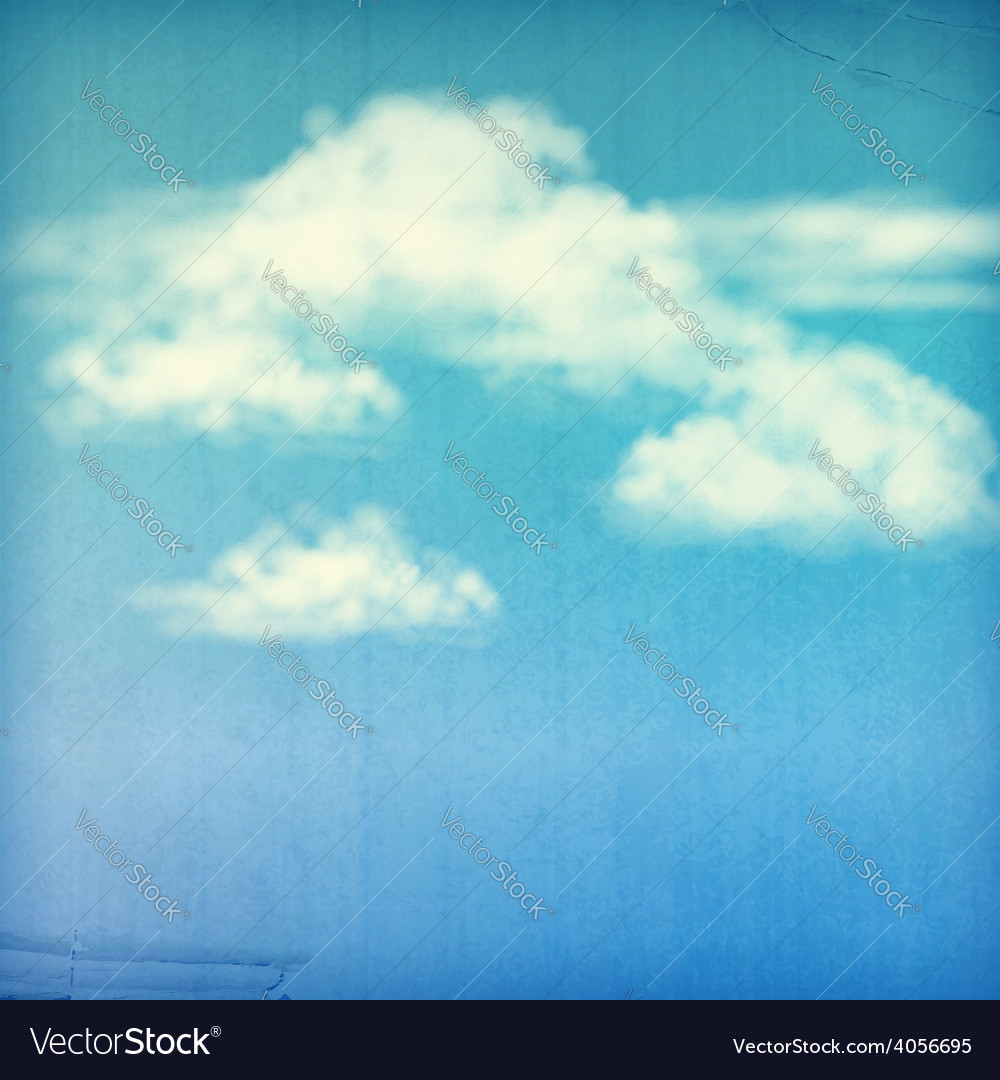 Blue Sky White Clouds Vintage Background vector image