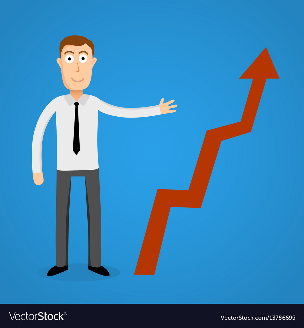 Business man present a growth chart vector image