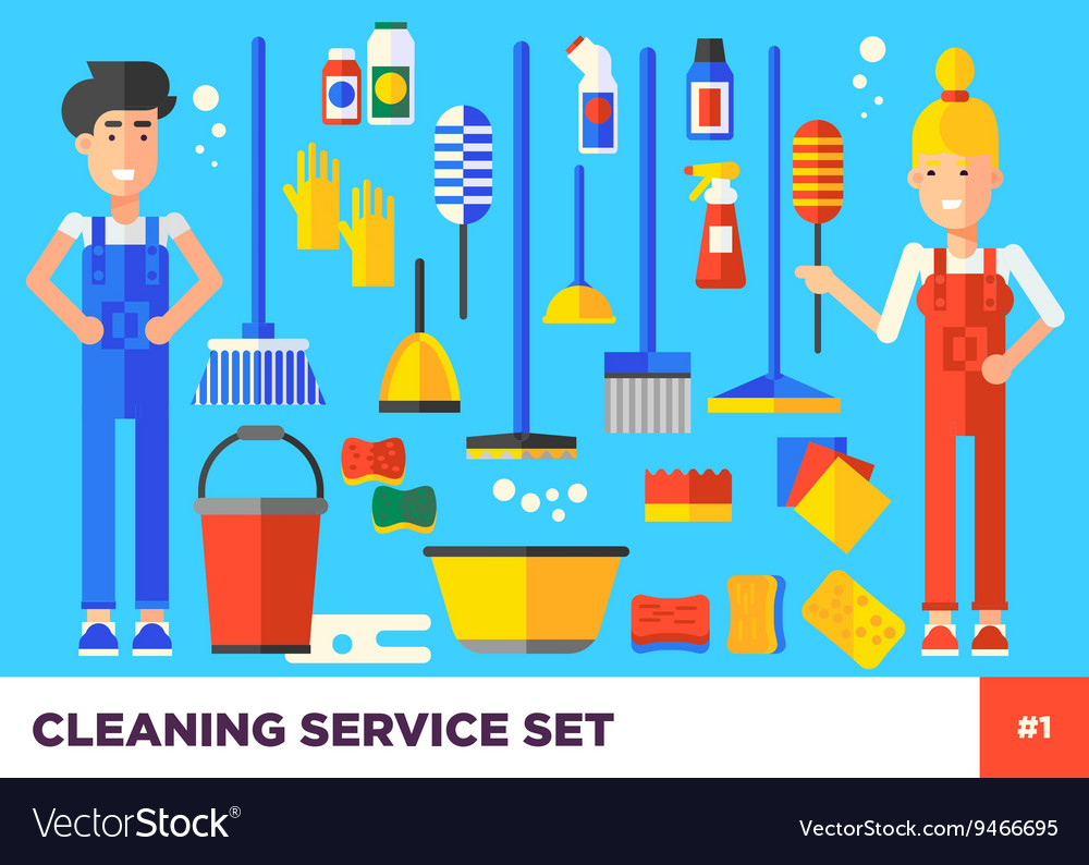Cleaning Set Woman vector image
