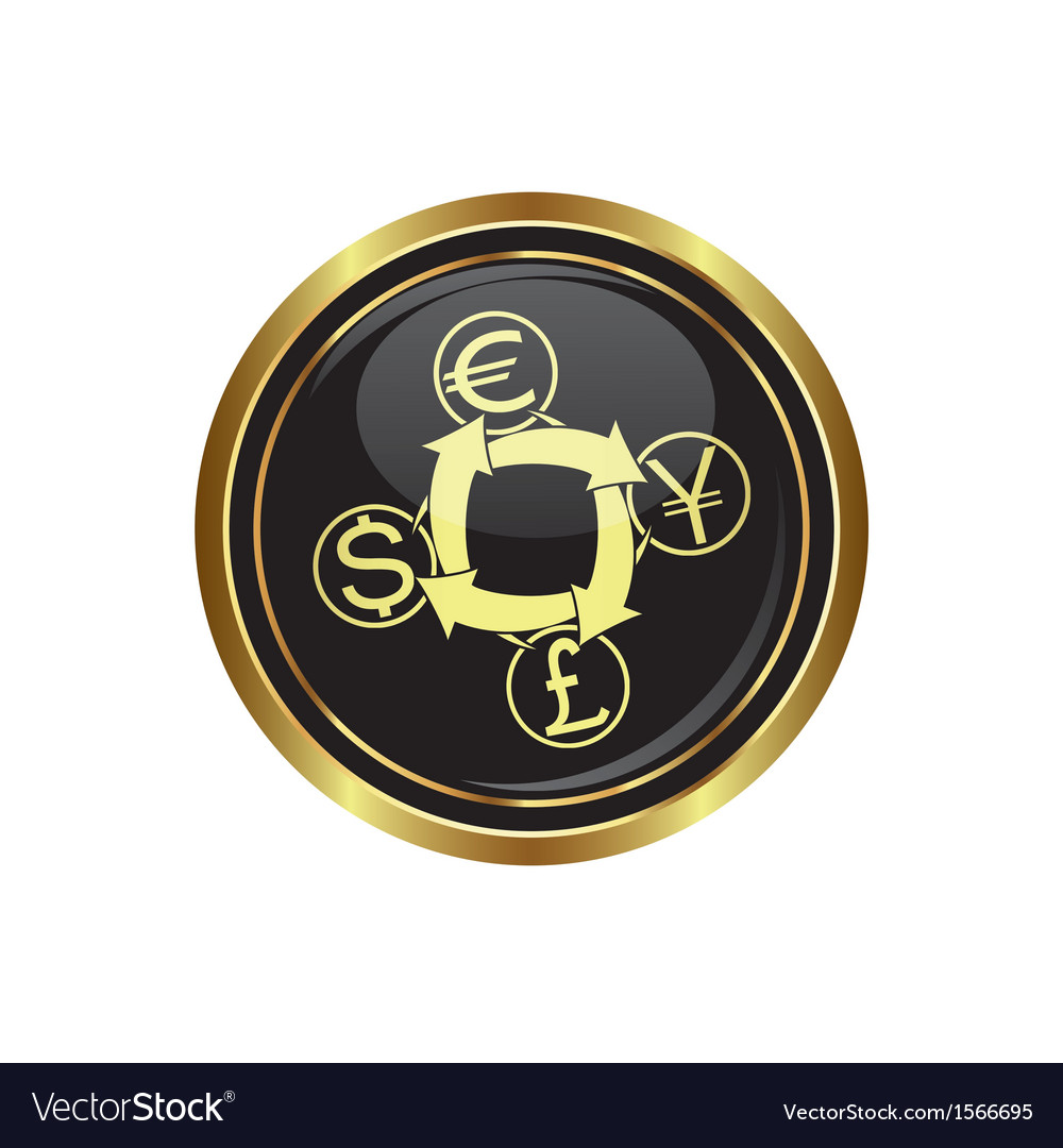 Currency Exchange Icon On Gold Copy Vector Image