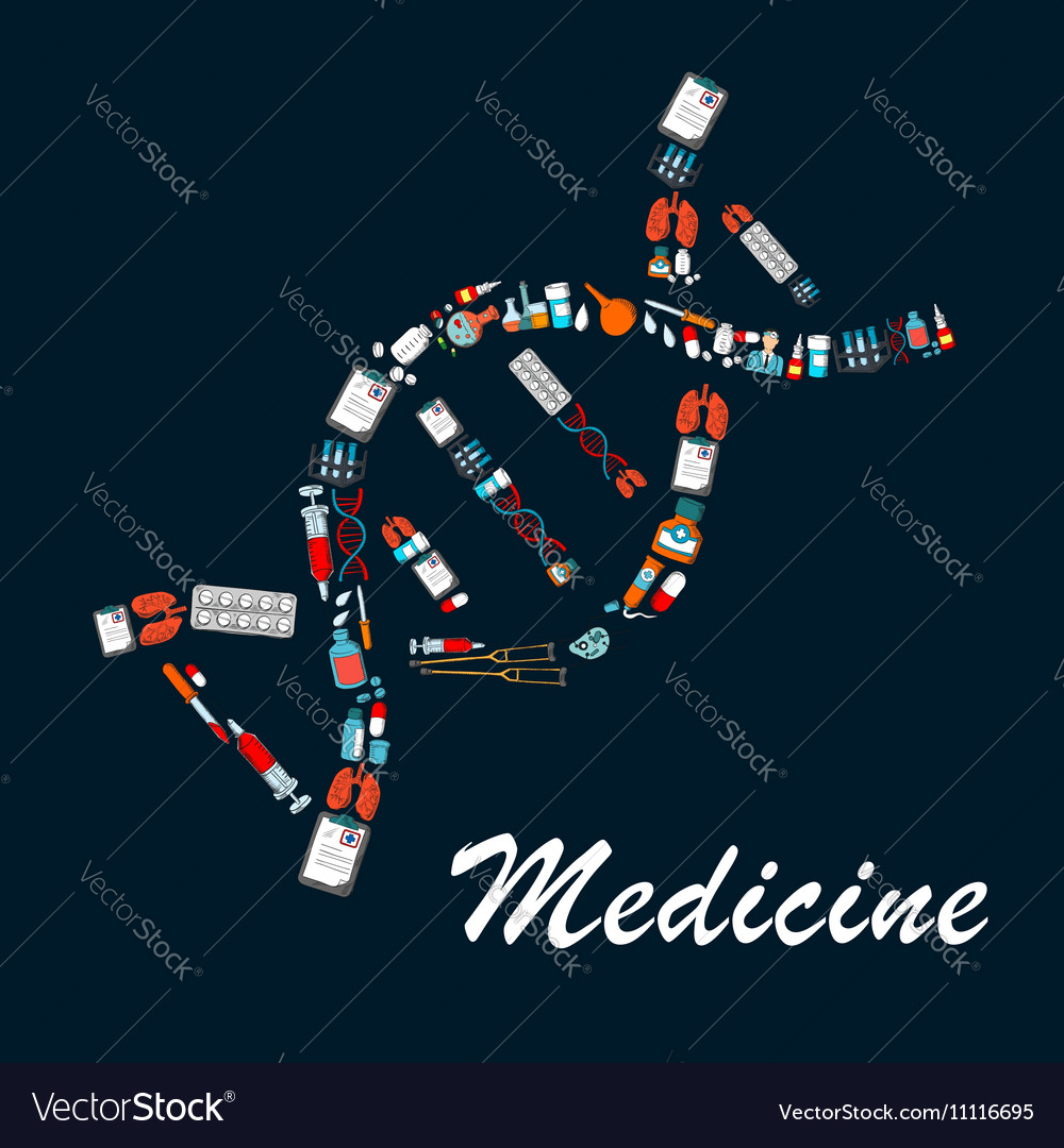DNA helix symbol made up of medical sketch icons
