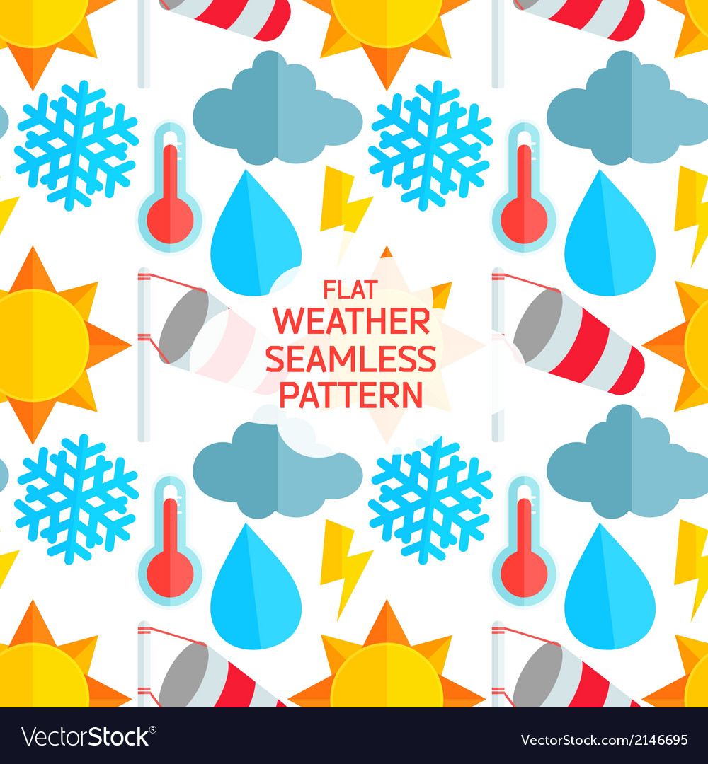Flat weather colorful seamless pattern