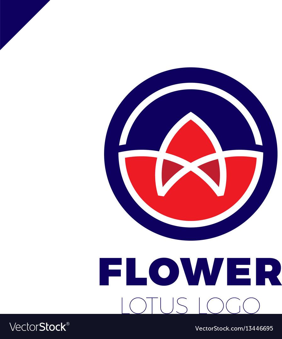 Flower lotus logo circle cosmetic or spa