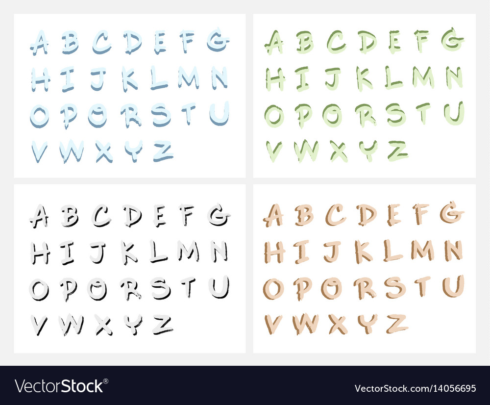 Hand drawn abc letters or alphabet letters set