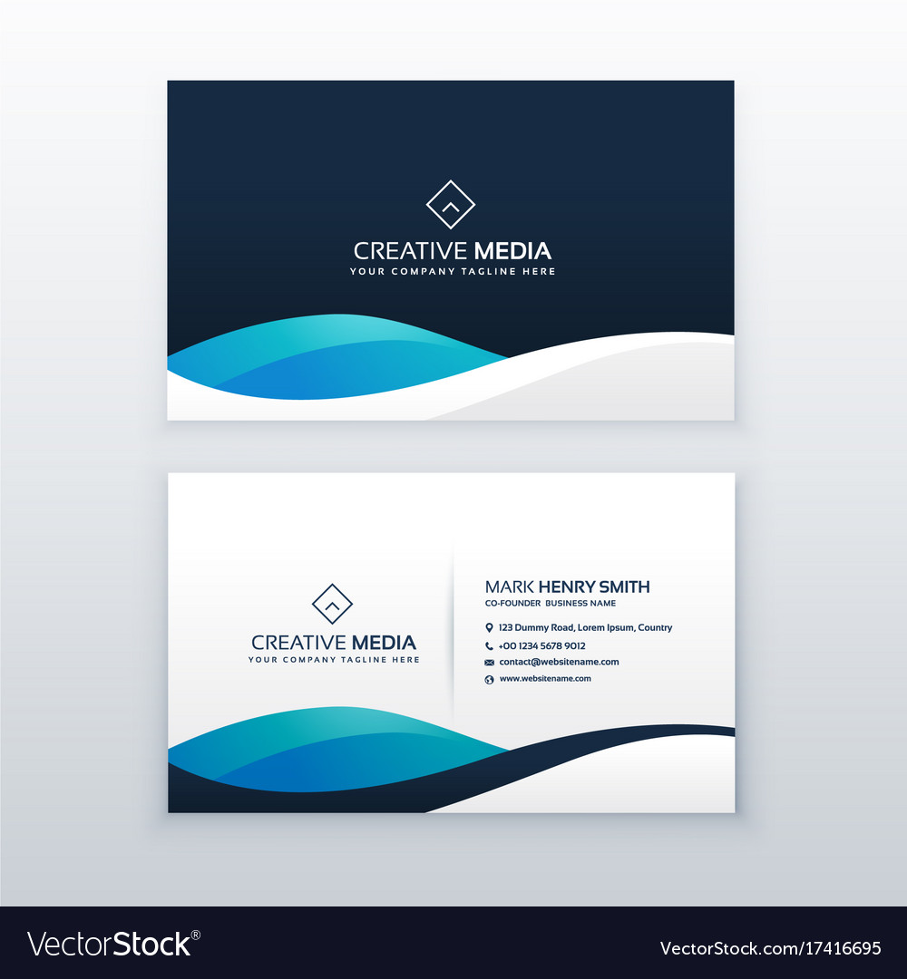 Modern blue creative business card design Vector Image
