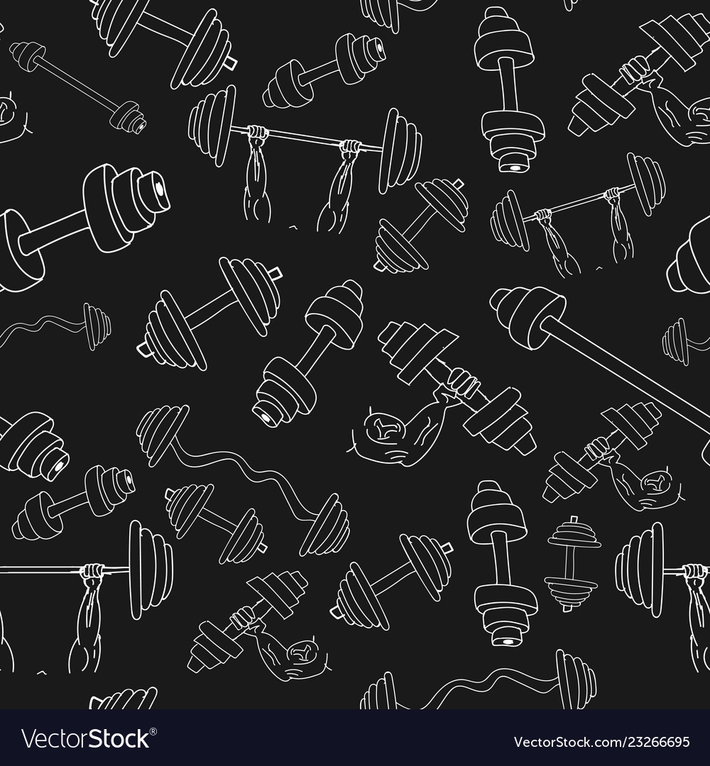 Seamless dumbbell pattern isolated on background