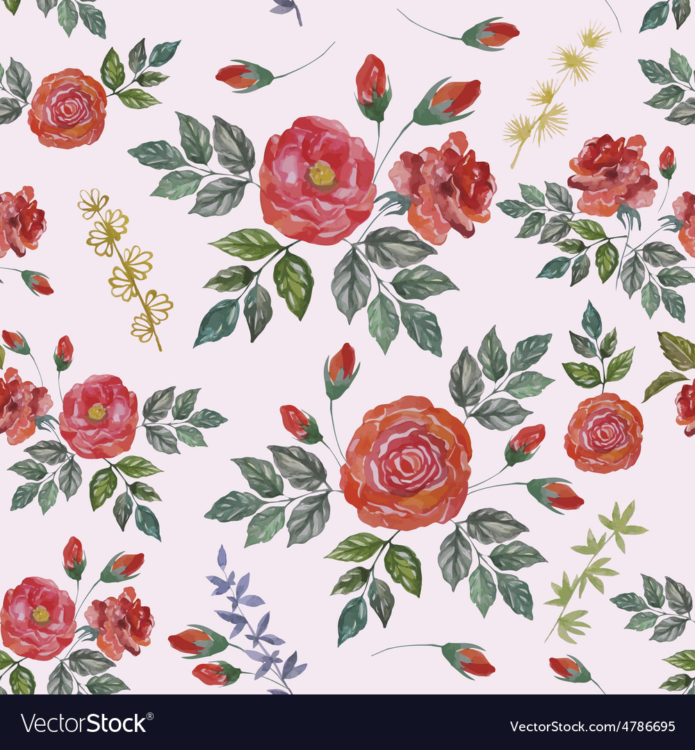 Seamless Watercolor Pattern with Red Roses