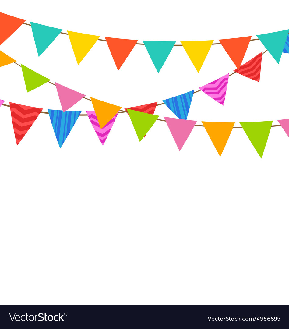 Set Bunting Pennants with Ornamental Texture vector image