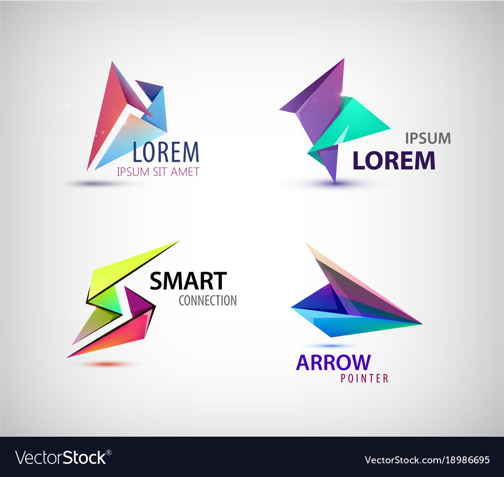Set of abstract 3d origami logos