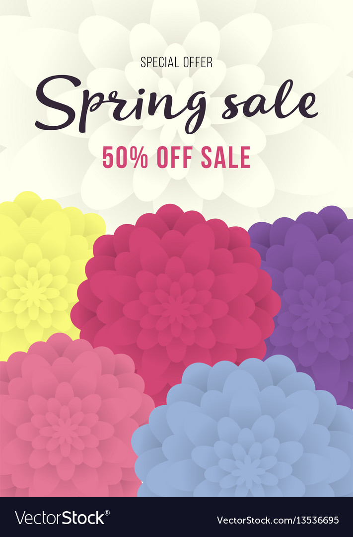 Spring sale banner sale poster sale flyer with