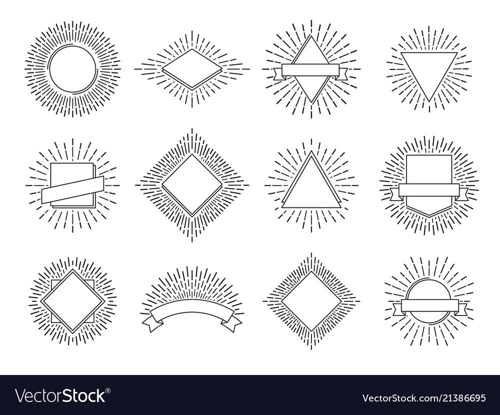 Sunburst labels retro sun rays logos vintage