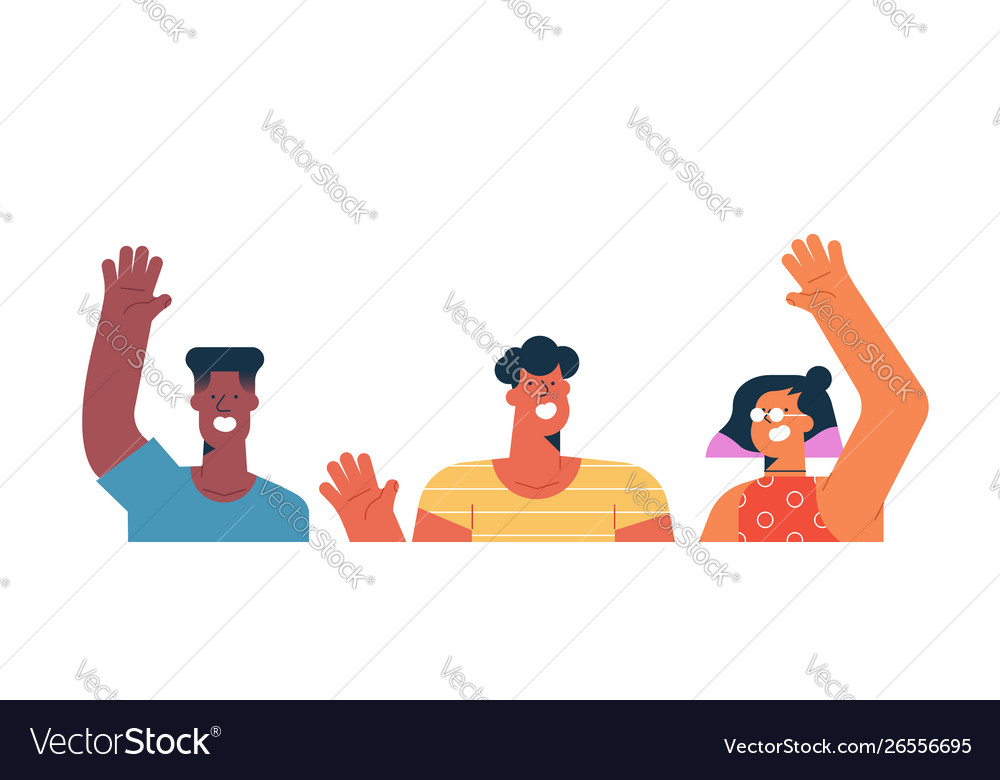 Three diverse friends waving hello isolated