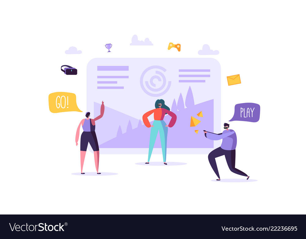 Virtual reality concept flat people characters