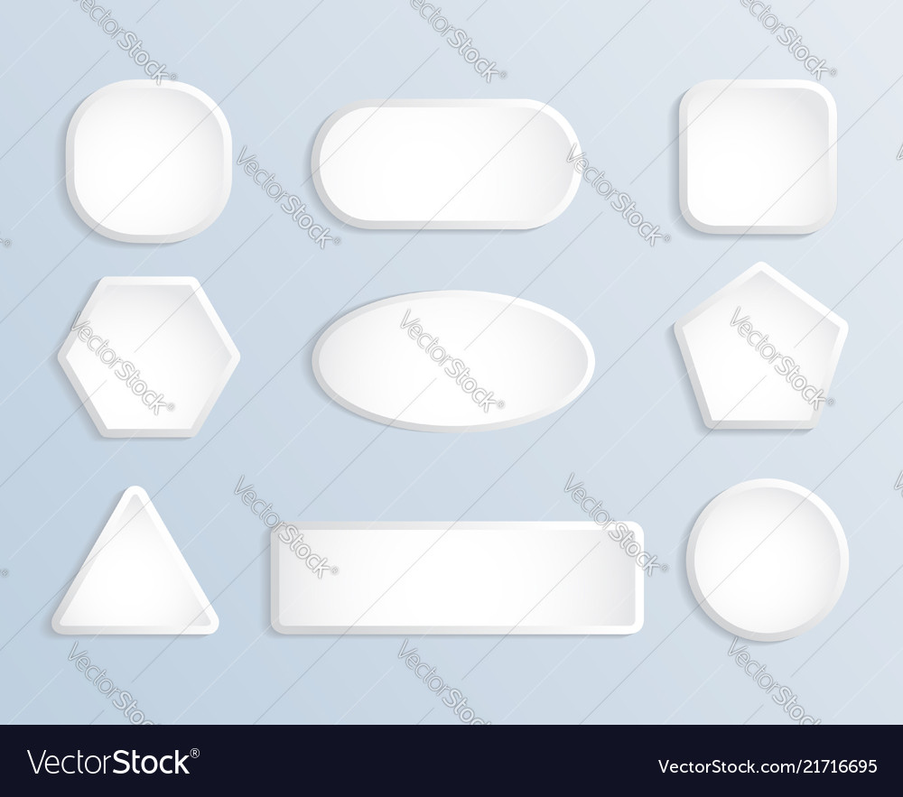 White blank square and round button stock set