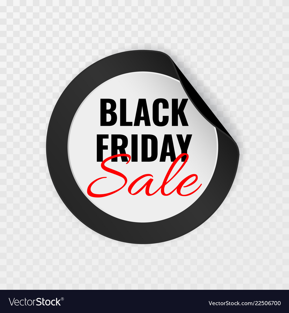 Black friday sale black round sticker with curled