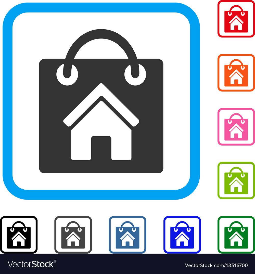 Buy home framed icon Royalty Free Vector Image