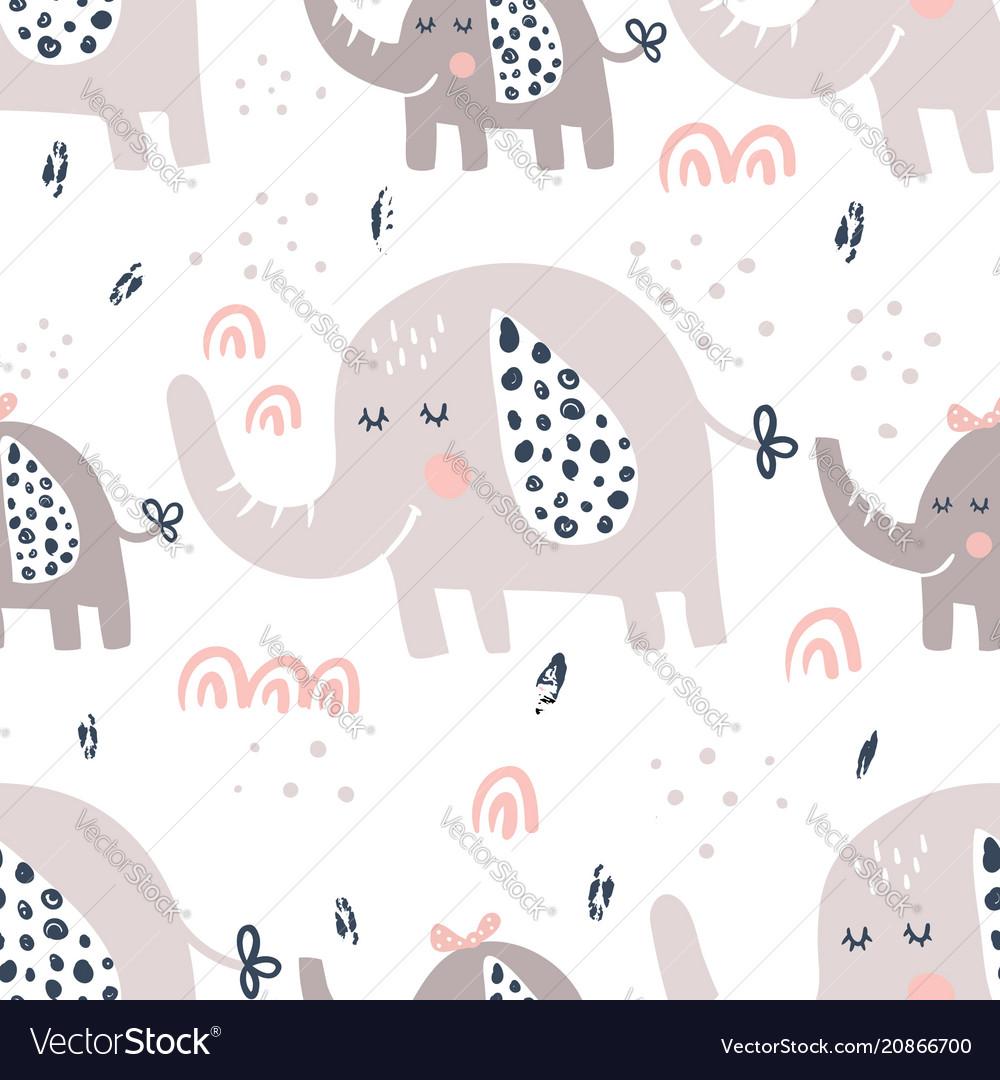 Elephants family pattern