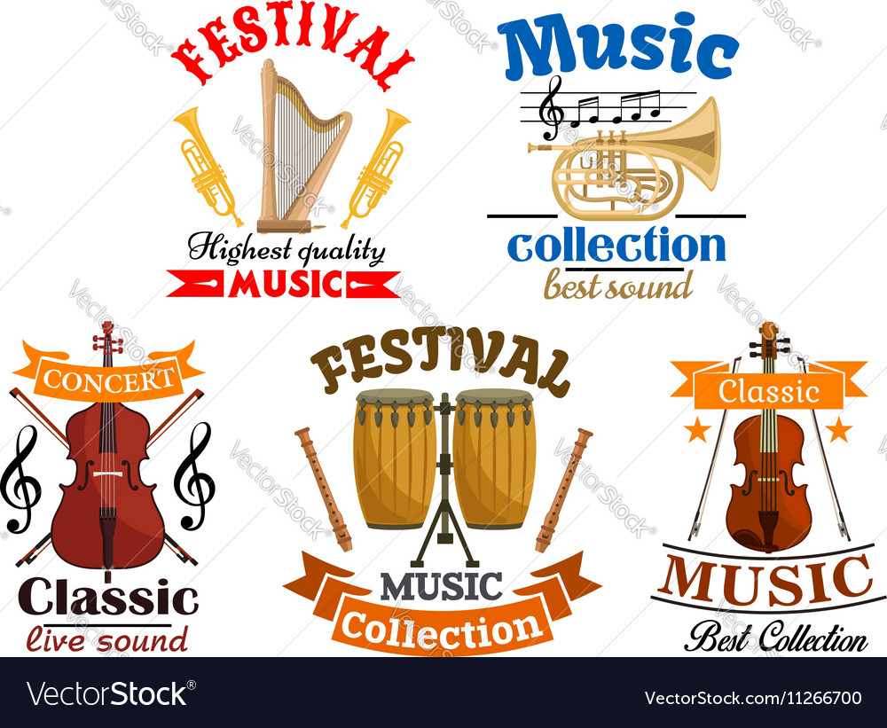 Emblems for classic live music festival concert
