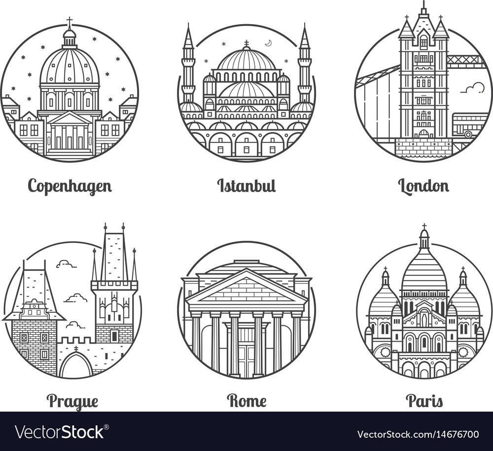 Europe travel destinations icons
