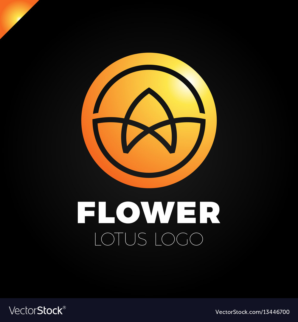 Flower lotus logo circle cosmetic or spa vector image