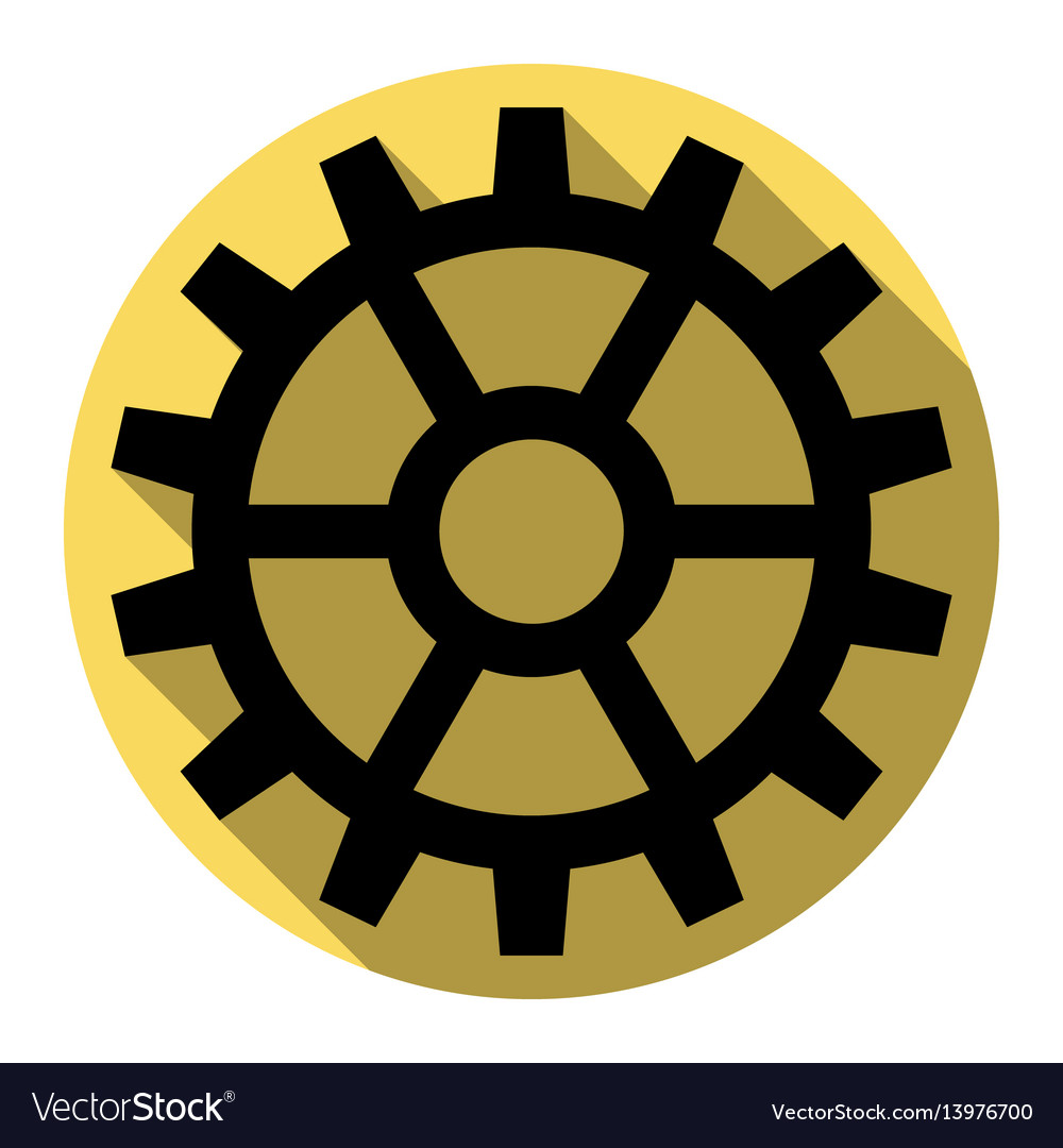Gear sign flat black icon with flat