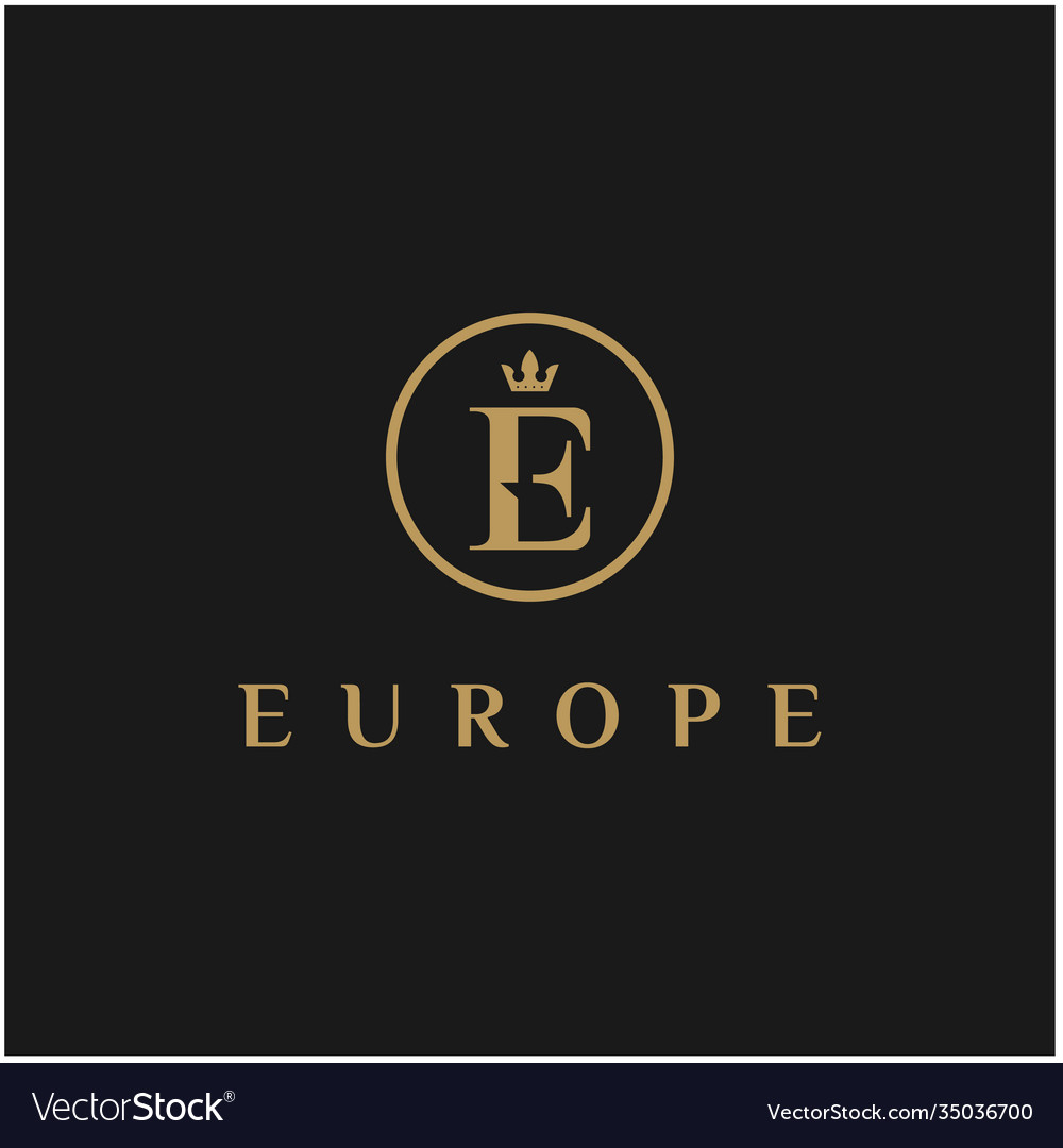 Initial letter e with crown logo design